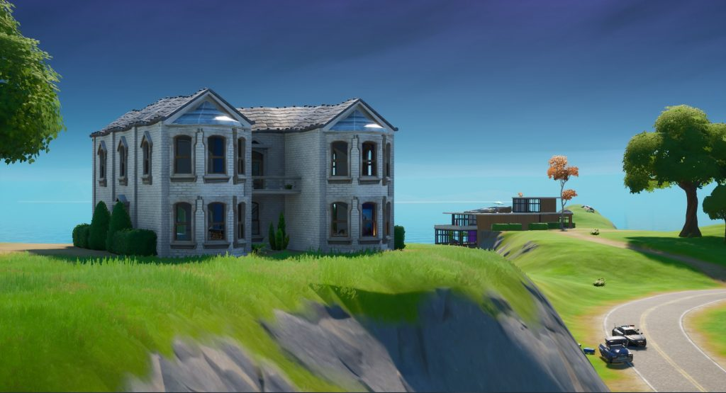 Fortnite's big house and Fancy View building.