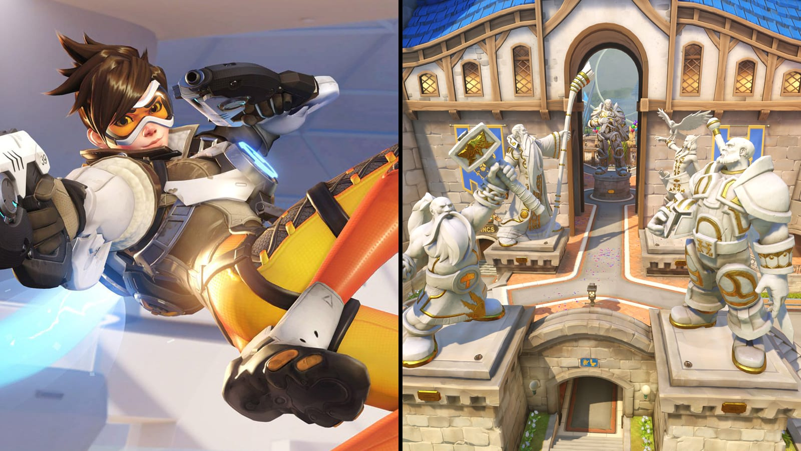 Tracer next to Blizzard World Overwatch map