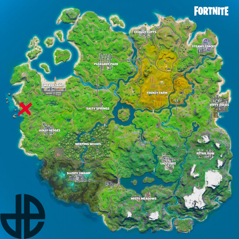Map showing the location of Fortnite's hidden gnome.