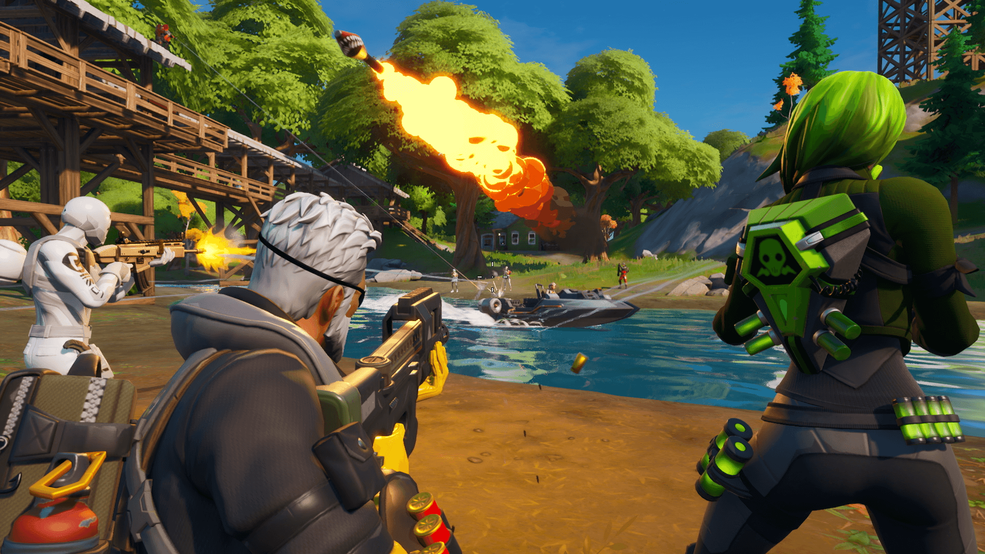 Fortnite players firing weapons at opponents.
