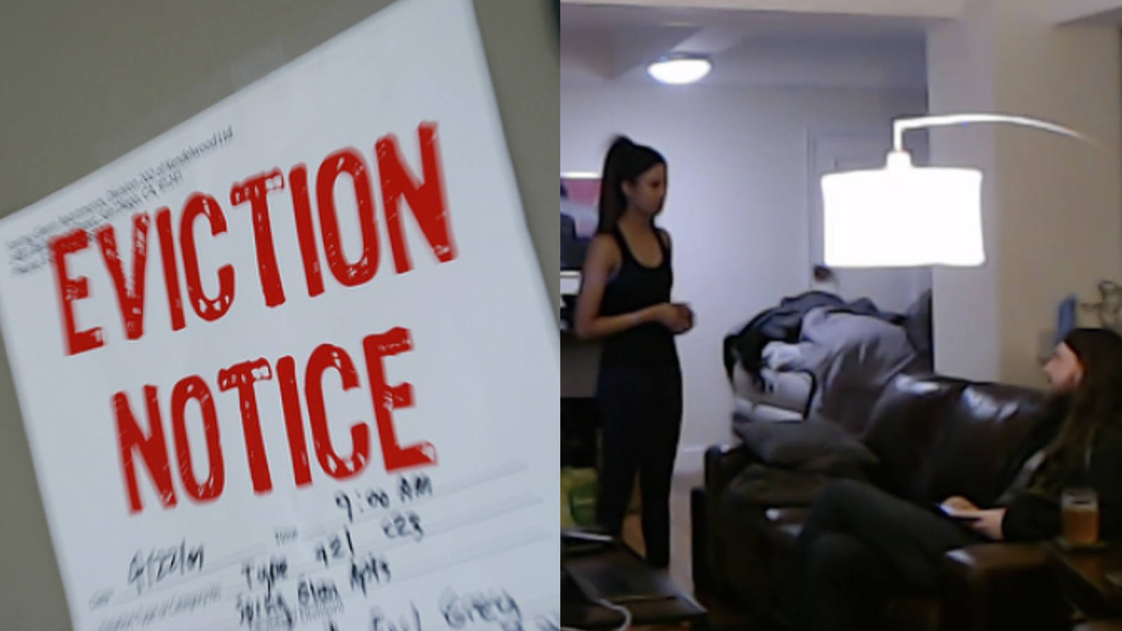 Streamer evicting roommate with an eviction sign