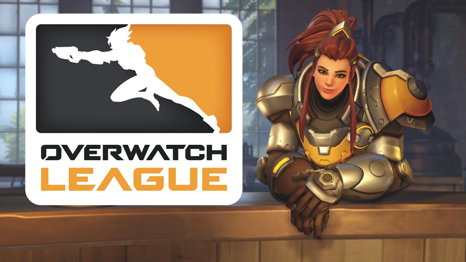 Overwatch's Brigitte leans over a bar on Eichenwalde