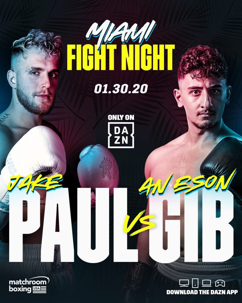 The official Jake Paul vs AnEsonGib fight poster.