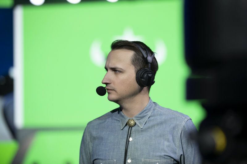 Former Overwatch League caster MonteCristo stares to the side during an esports broadcast