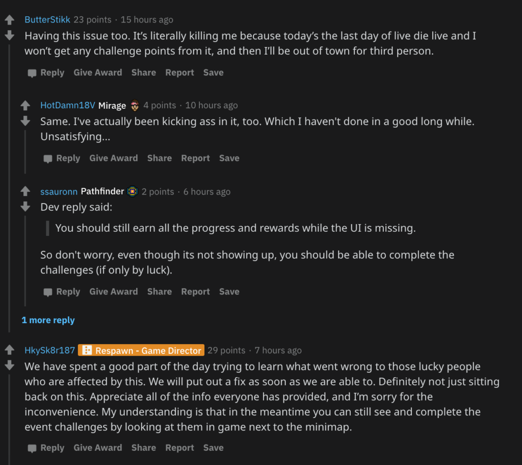 Respawn developer's comment.