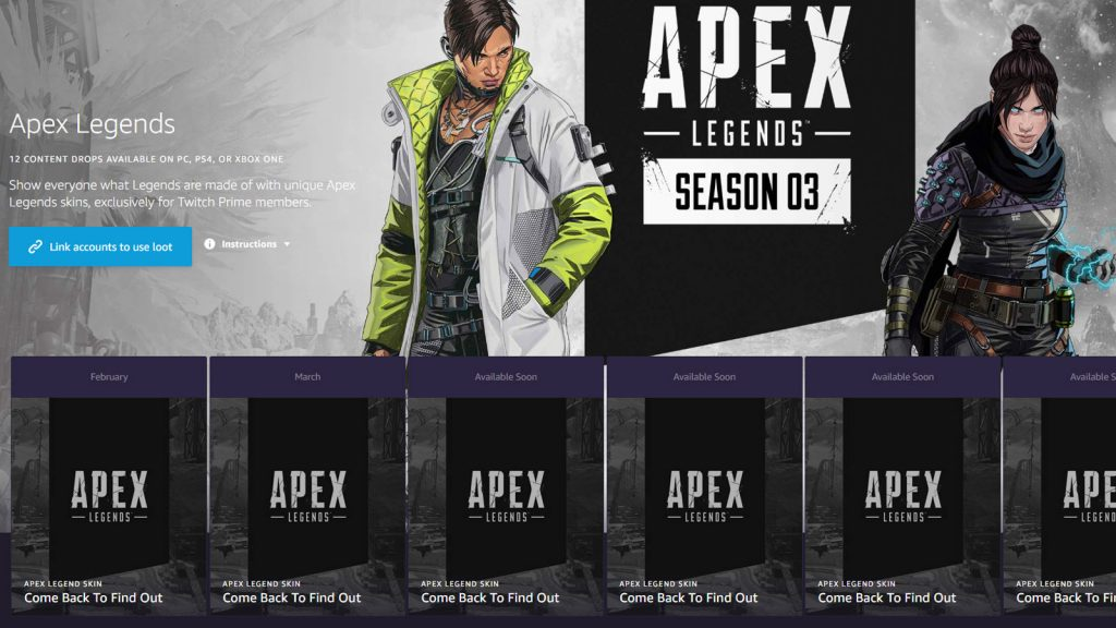 Apex Legends Twitch Prime Loot page.