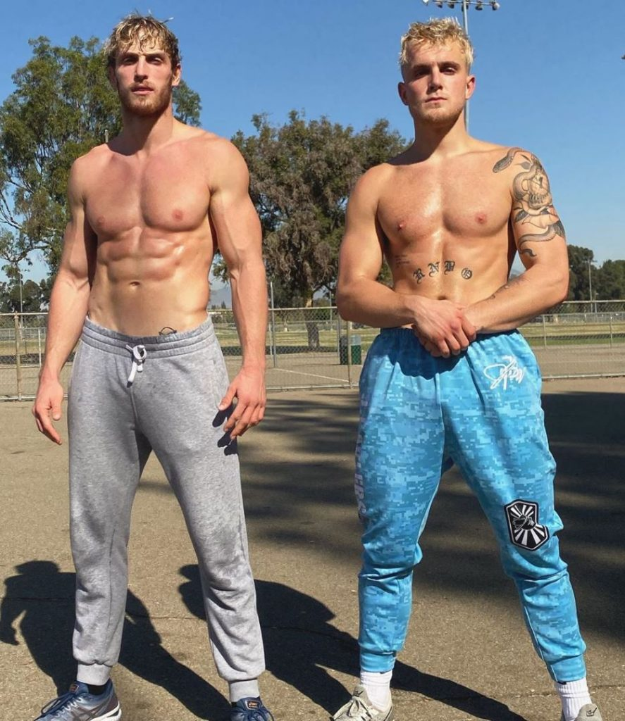 Jake Paul and Logan Paul pose shirtless, because why not.
