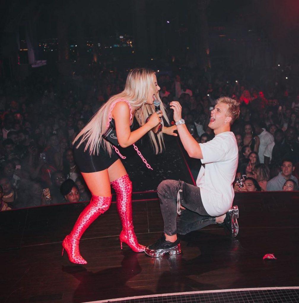 Jake Paul proposes to Tana Mongeau in a nightclub.