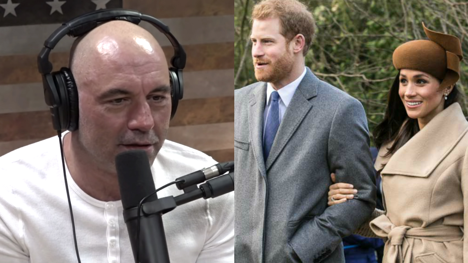 Joe Rogan on YouTube podcast discussing Prince Harry and Meghan Markle leaving Royal Family