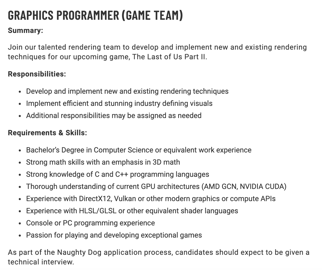 Naughty Dog the Last of us 2 job listing