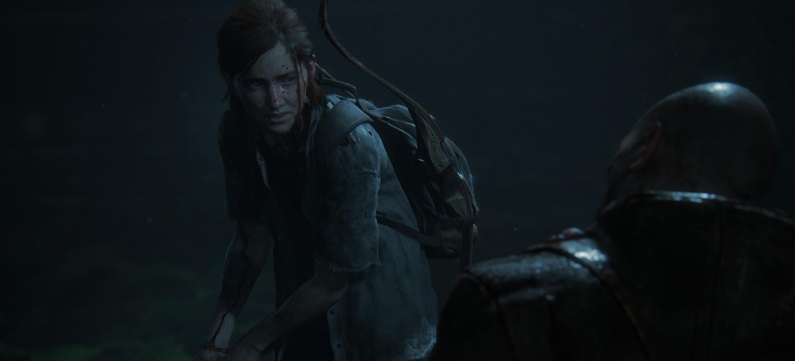 Ellie facing an enemy in the last of us 2
