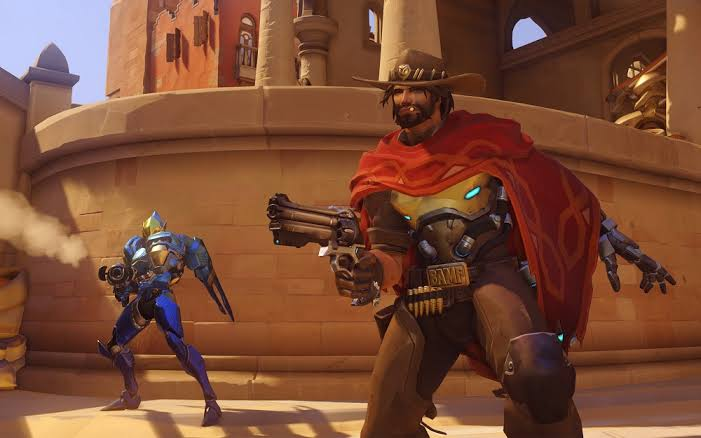 Overwatch McCree and Pharah engage in a team fight on Temple of Anubis