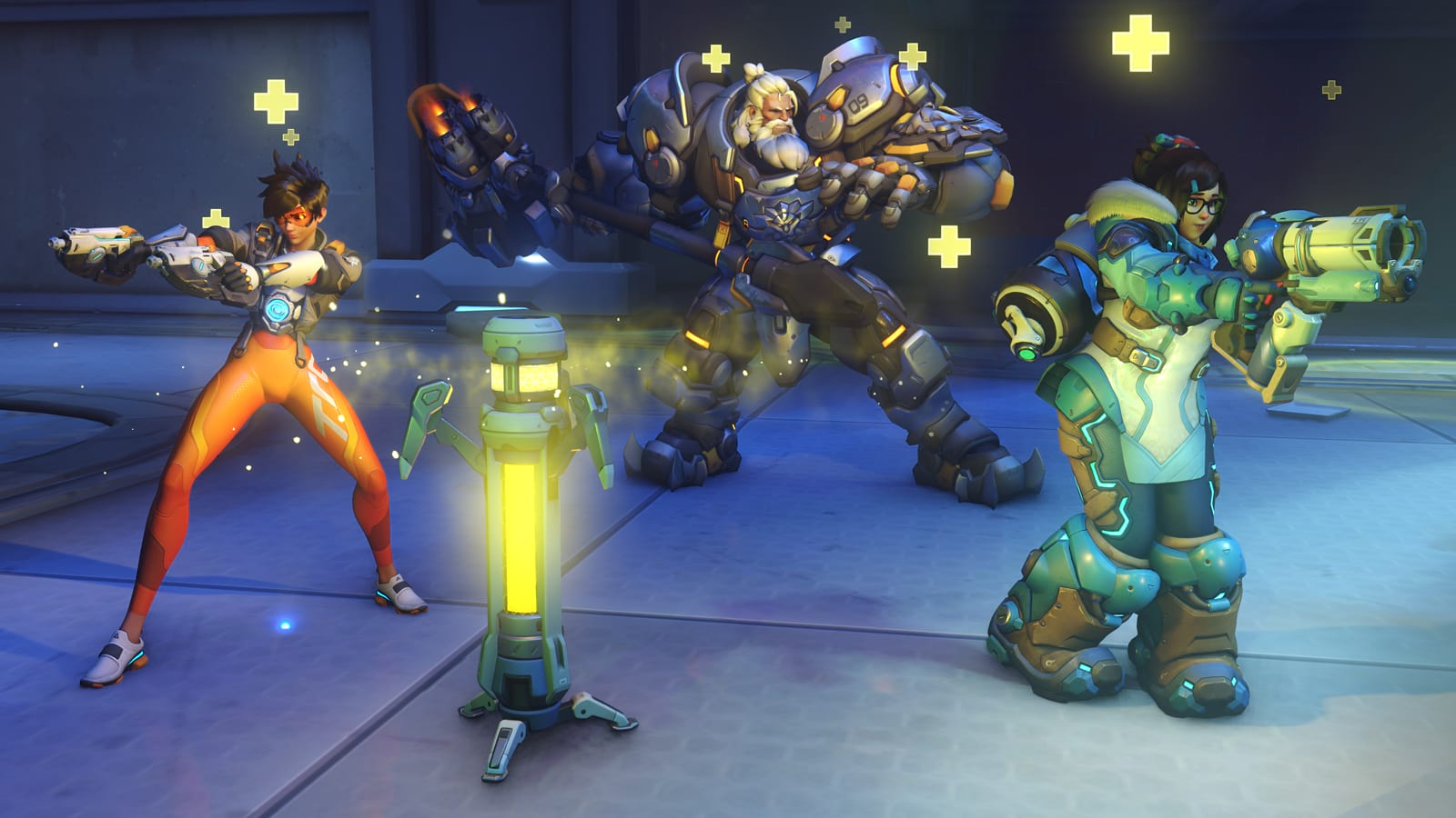 Overwatch 2 Tracer, Reinhardt and Mei next to a healing beacon