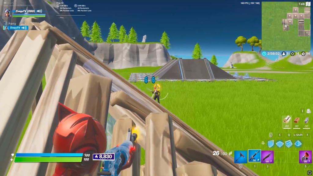 Player abusing ghost peek exploit in Fortnite