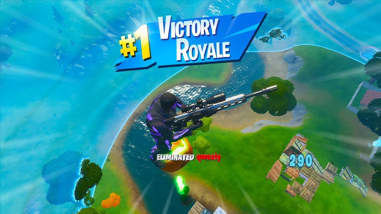 Fortnite player getting a Victory Royale with a sniper shot