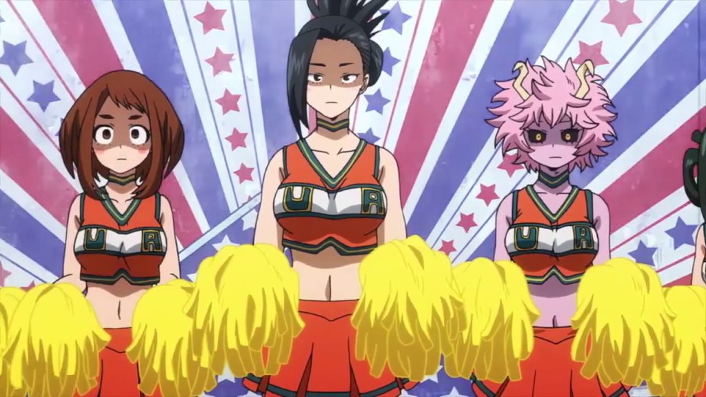 The girls of Class 1-A sporting cheerleading outfits at the U.A. Sports Festival.
