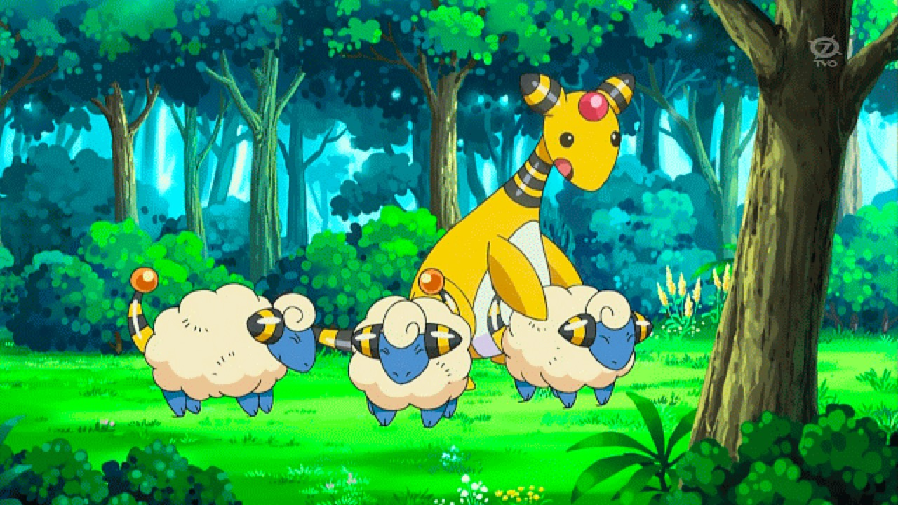 Ampharos in the field with Mareeps