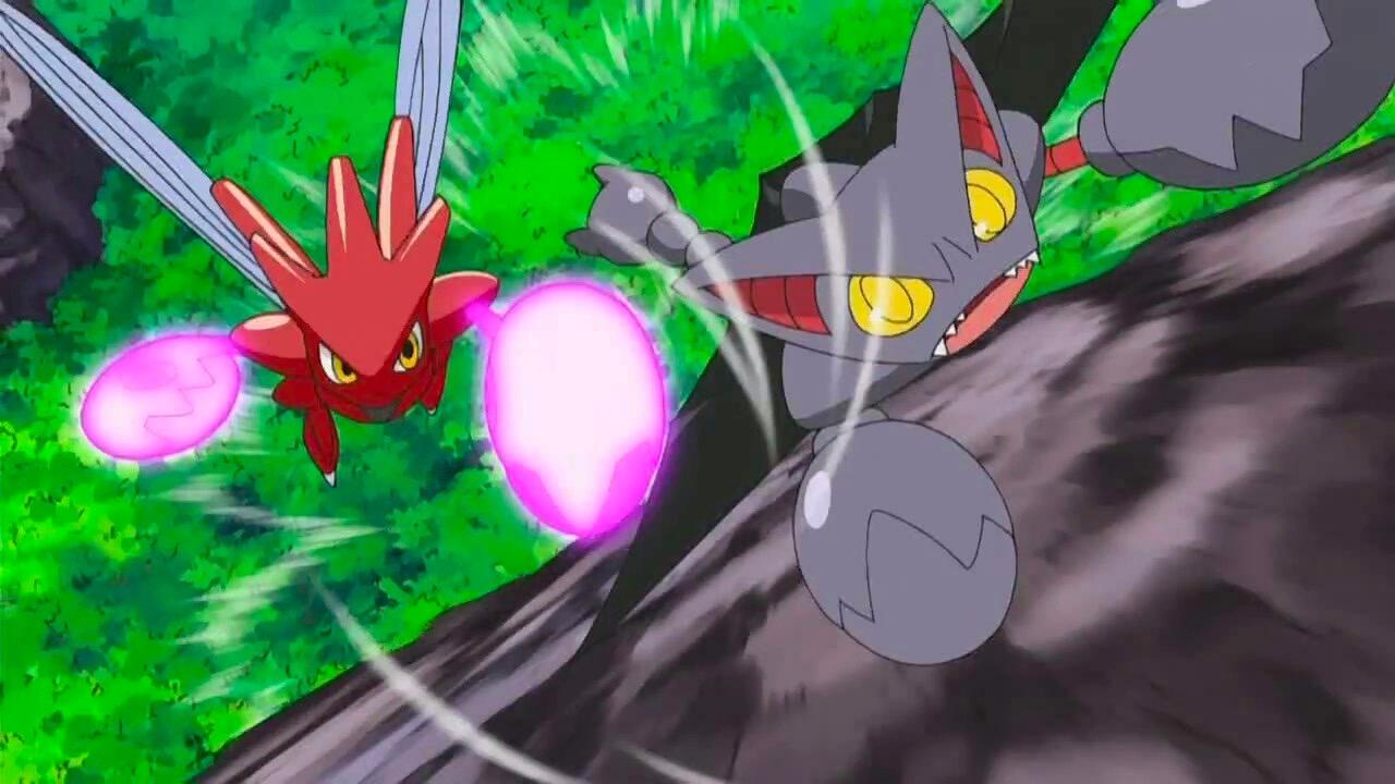 Scizor chasing Gliscor in Pokemon anime
