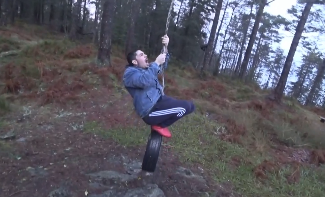 Twitch streamer Greekgodx screams in pain while on a tire in Norway