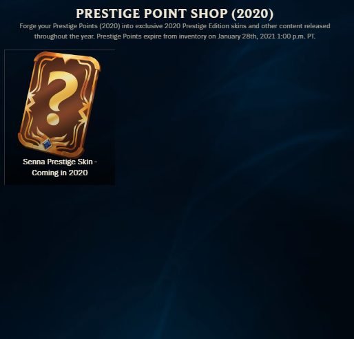 League of Legends Prestige Point Shop 2020