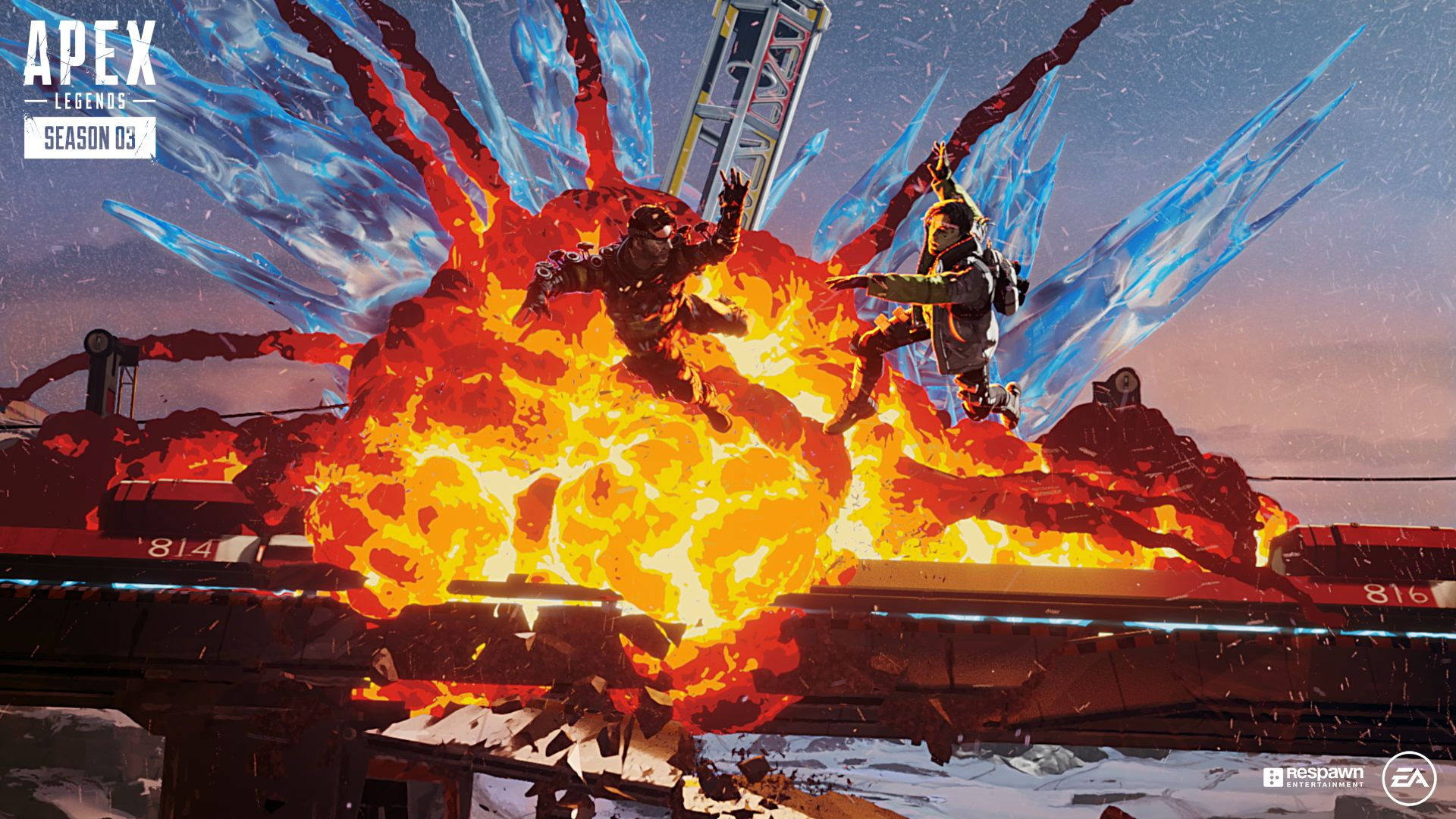 An explosion on Apex Legends' World's End map.