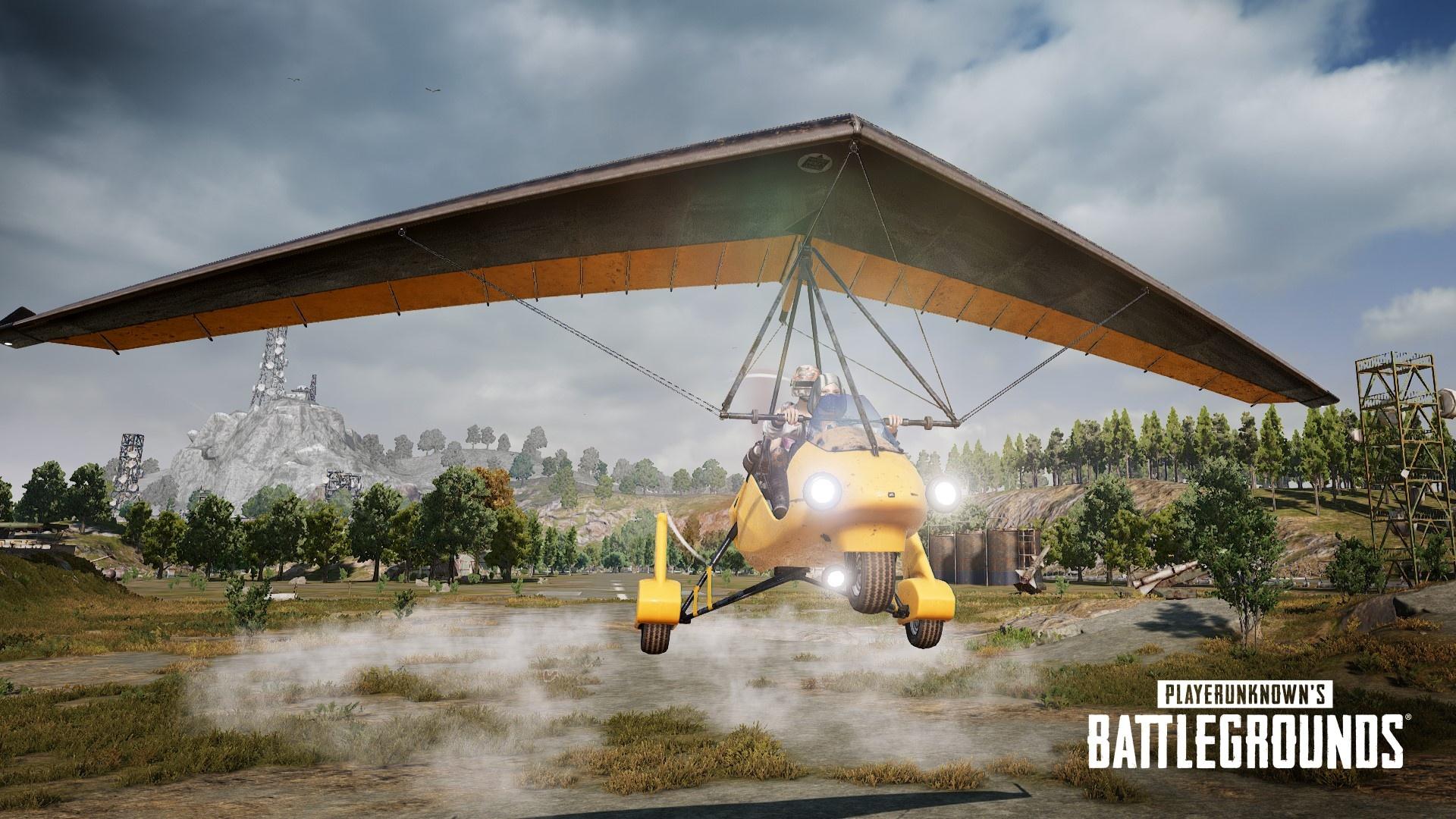 PUBG player gliding