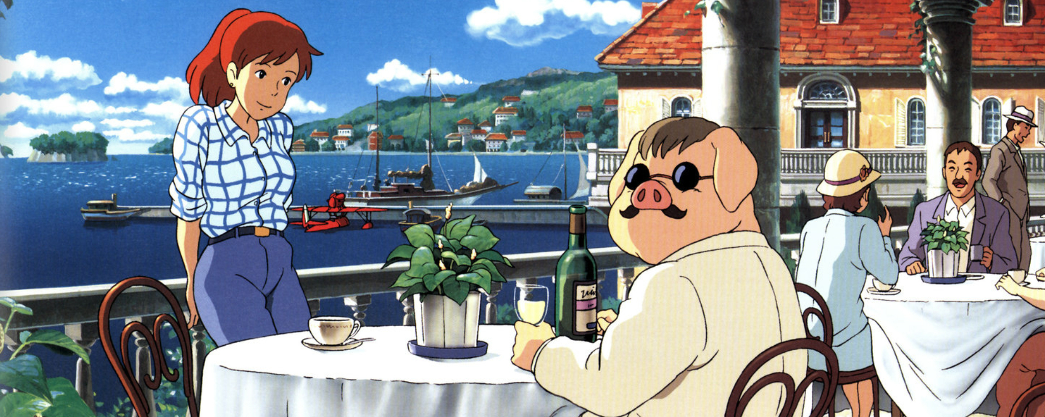 Porco Rosso drinking wine