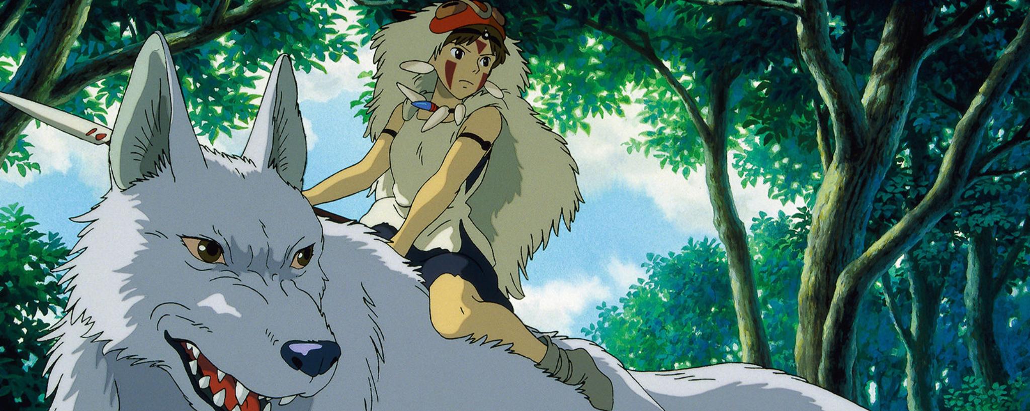 Princess Mononoke's San riding a wolf