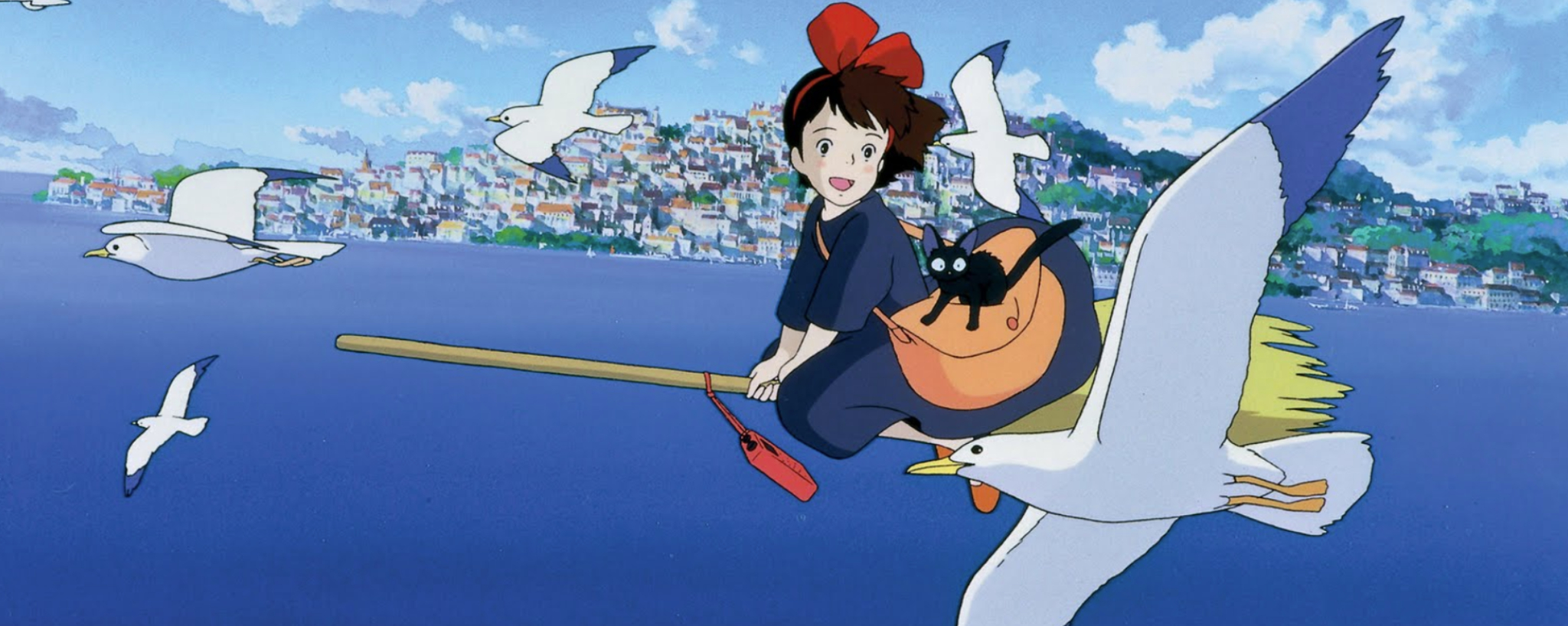 Kiki and Jiji flying on her broomstick