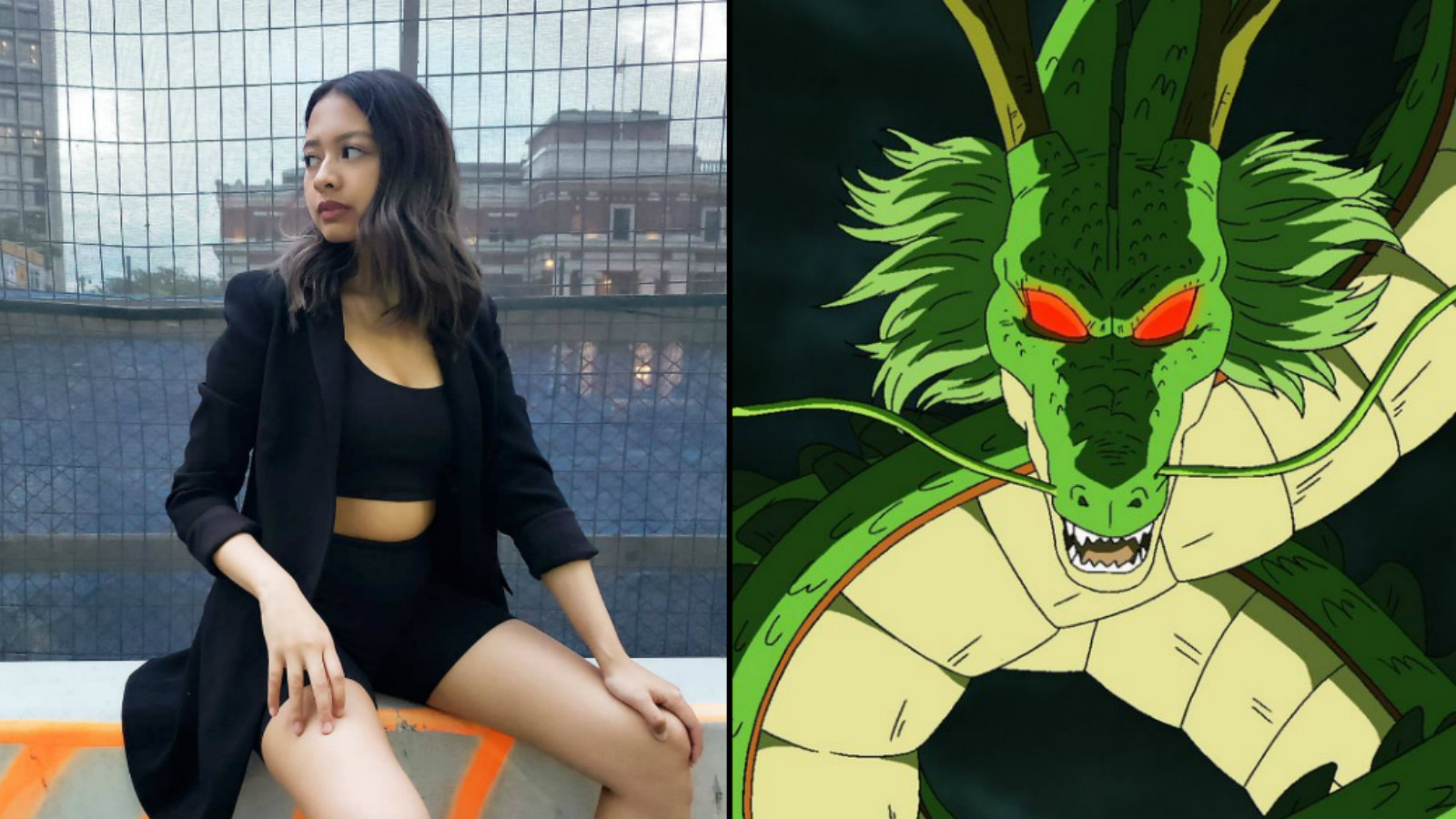 Twitch streamer IssaGrill and Dragon Ball Z's Shenron
