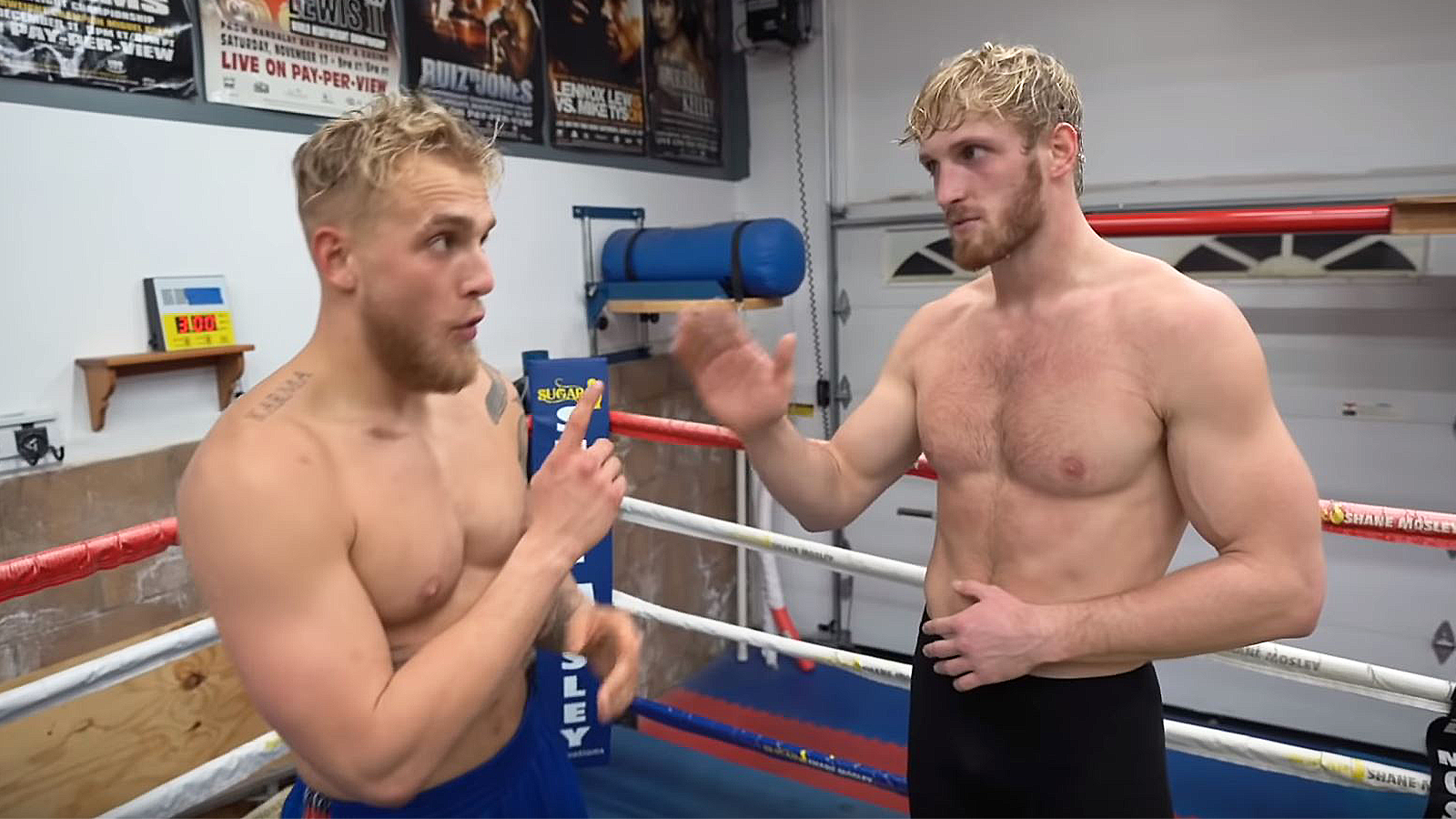 An image of Jake Paul and Logan Paul talking inside a boxing ring.