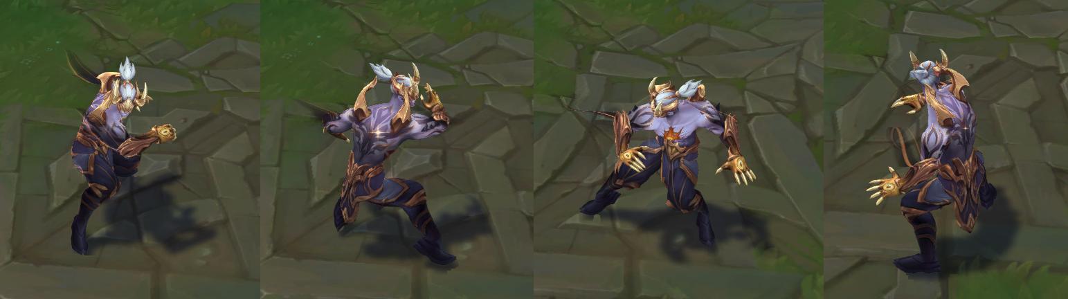 Lee Sin character model with Prestige Nightbringers edition skin