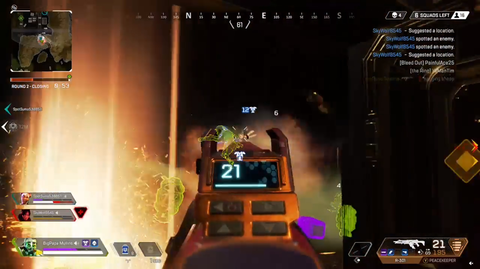 Octane trapped by Thermites and Caustic Nox gas in Apex Legends