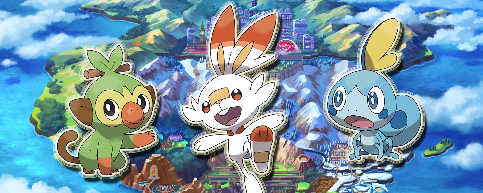 Grookey, Scorbunny and Sobble Pokemon Sword & Shield starters