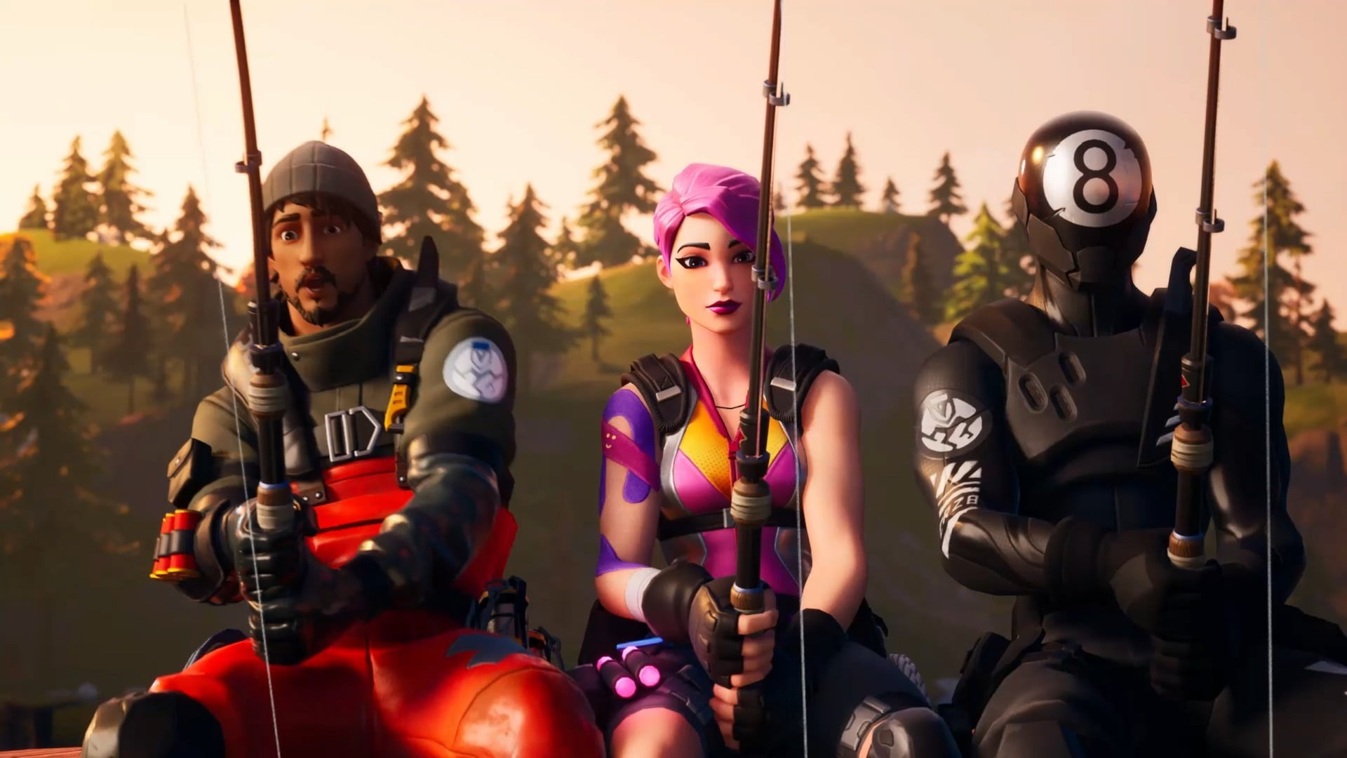 Three Fortnite characters using the game's Fishing Rod.