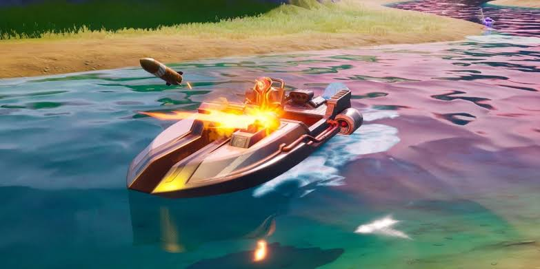 Fortnite motorboat speeds through water