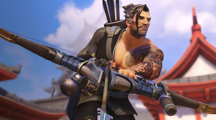 Hanzo takes aim in Overwatch.