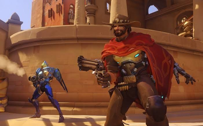 Overwatch heroes McCree and Pharah in battle.