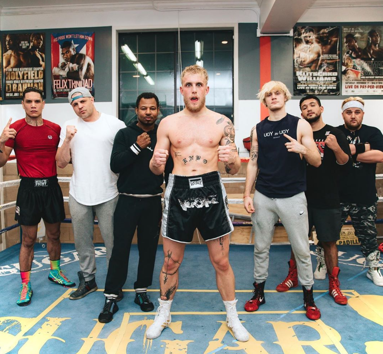 Jake Paul and his boxing crew preparing.