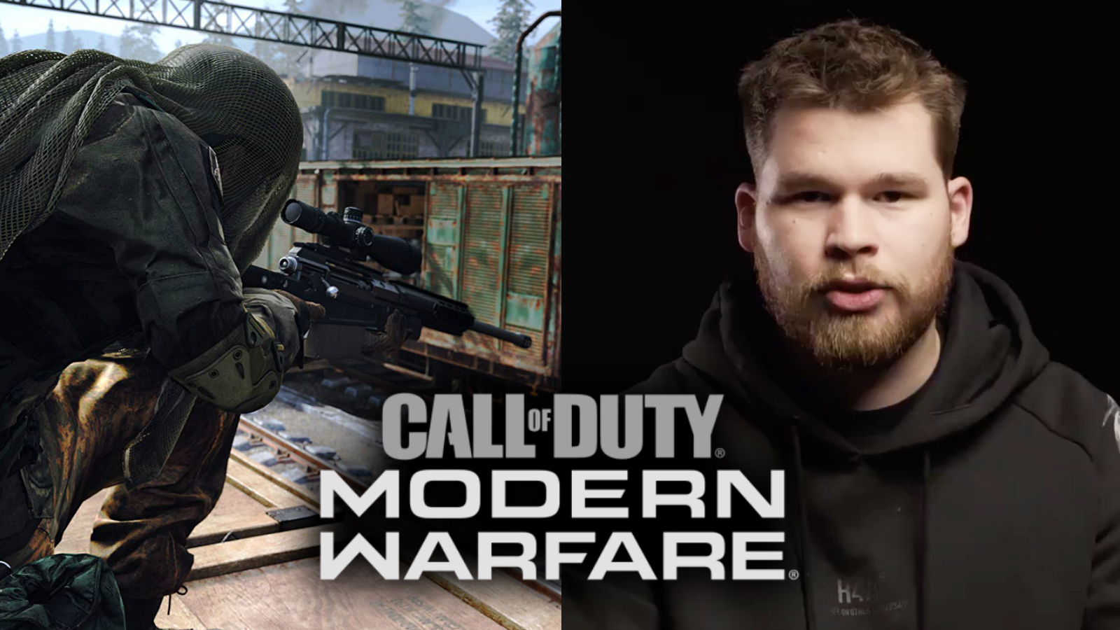 modern warfare sniper next to professional player crimsix in a black hoody