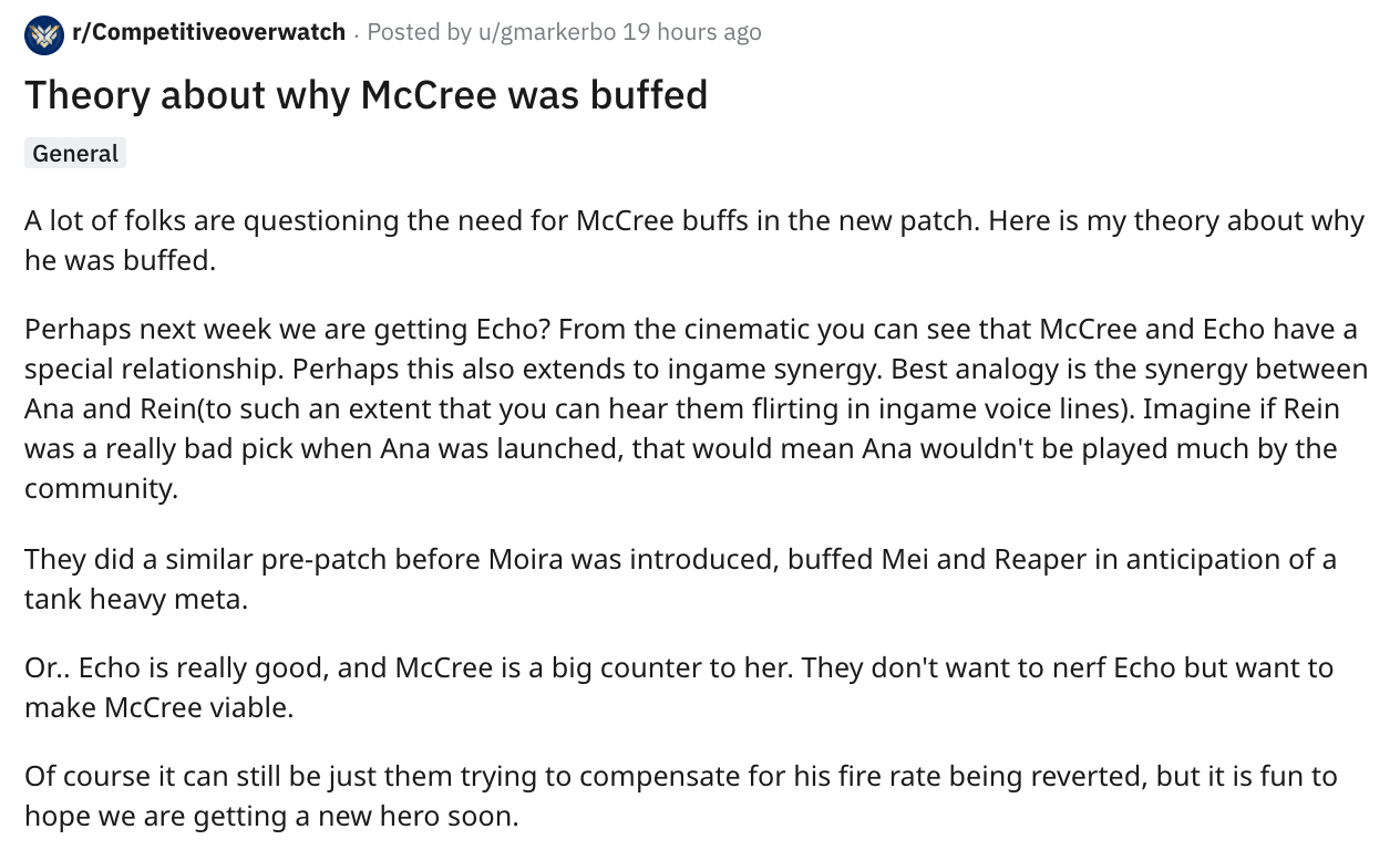 McCree Overwatch buff theory new hero Echo
