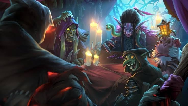 Hearthstone characters around a table