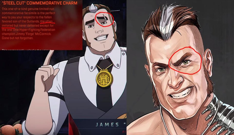 Forge from Apex Legends with a cut in his eyebrow