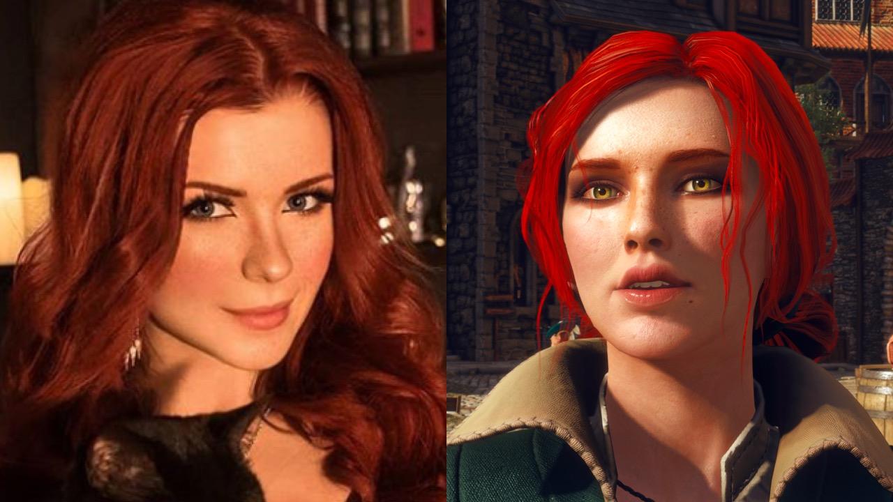 Witcher cosplayer next to Triss Merigold