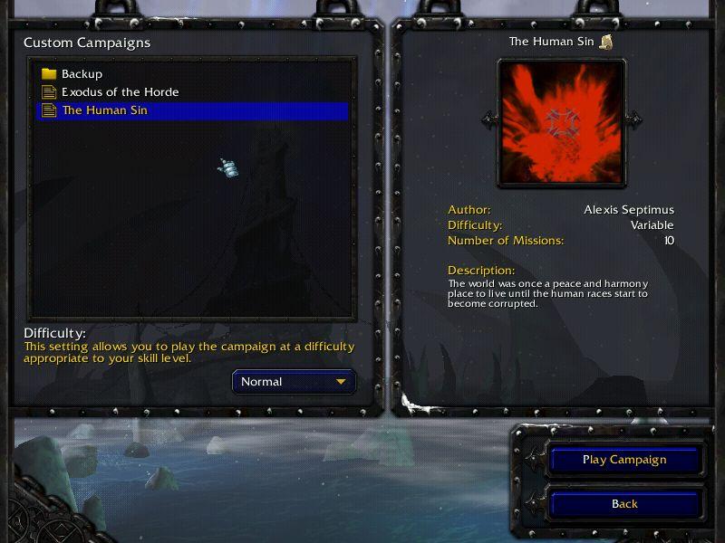 Custom Campaign menu in Warcraft 3