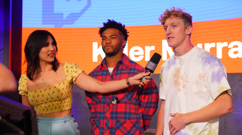 An image of Tfue and Kyler Murray during an interview.