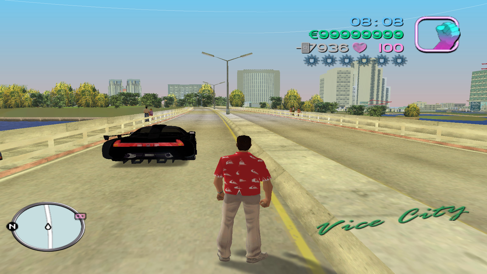 Tommy Vercetti standing on bridge in GTA Vice City