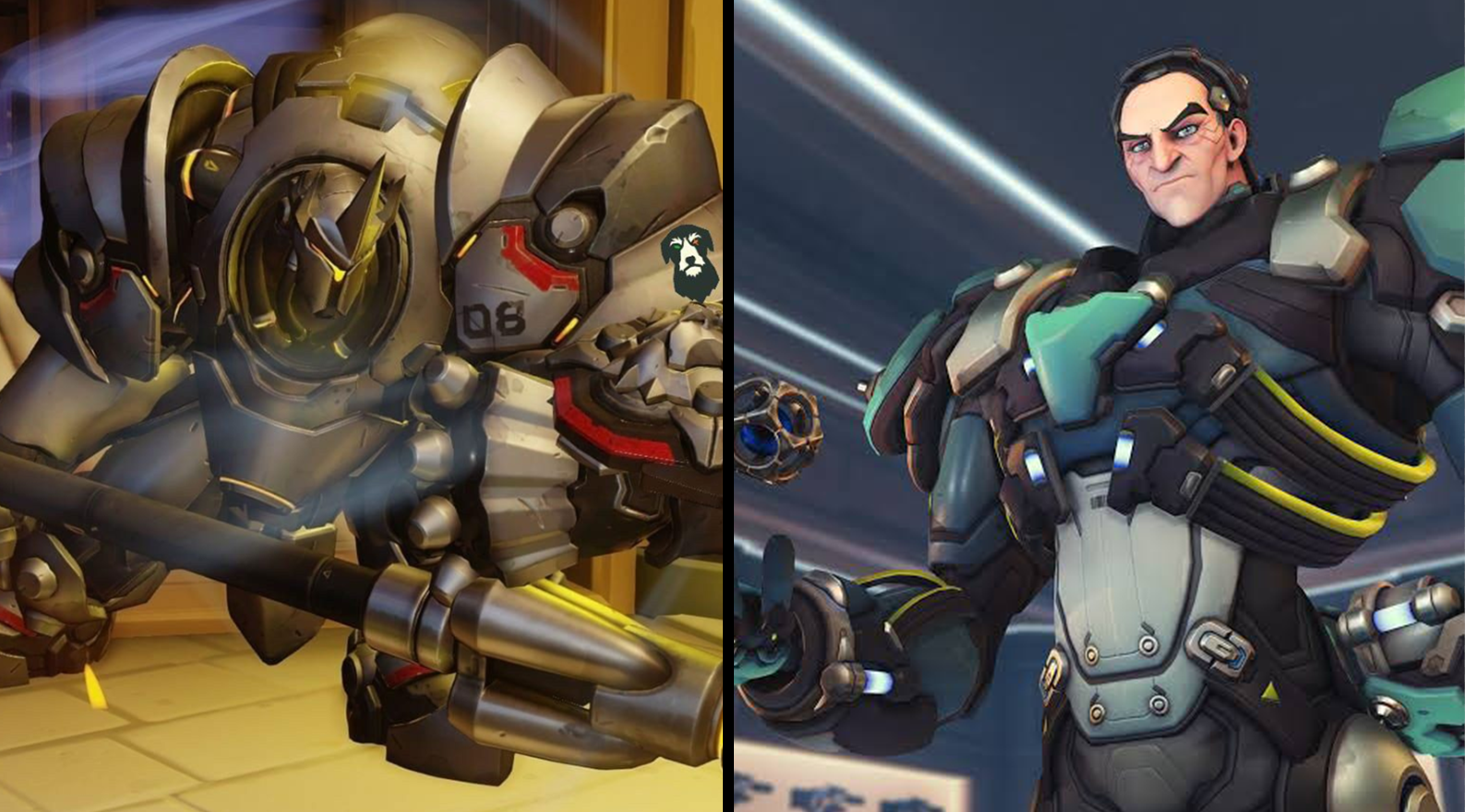Overwatch heroes Sigma and Reinhardt