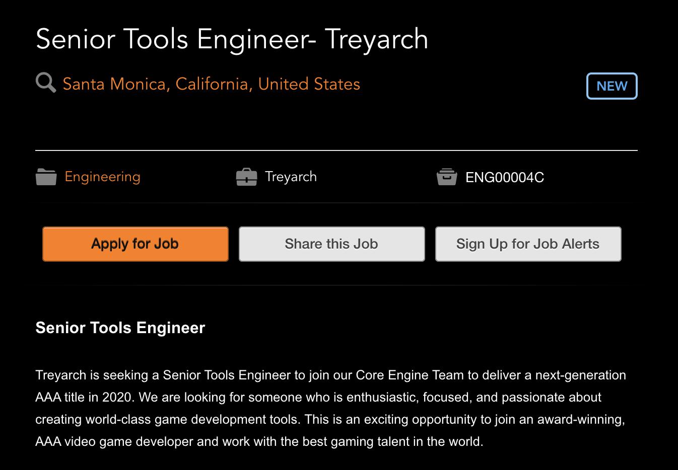 Treyarch's job listing.