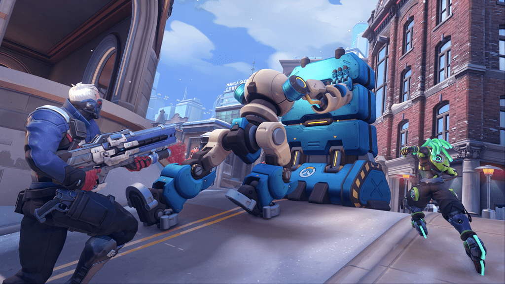 Soldier: 76 and Lucio playing Push in Overwatch